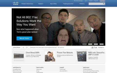 Screenshot of Home Page cisco.com - Cisco Systems, Inc - captured July 10, 2014