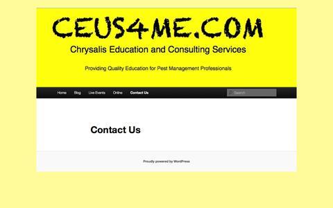 Screenshot of Contact Page ceus4me.com - Contact Us | Chrysalis Education - captured Oct. 2, 2014