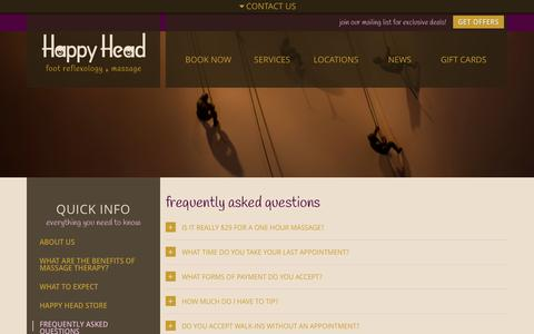 Screenshot of FAQ Page happyheadmassage.com - Frequently Asked Questions About Massage   Happy Head Massage - captured Oct. 2, 2014