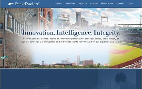 Screenshot of Home Page fzacpa.com - Frankel Zacharia - Innovation. Intelligence. Integrity. - captured Sept. 11, 2015