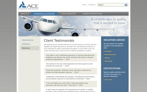 Screenshot of Testimonials Page aceprecision.com - Customer Testimonials | Complete Engineering Services | Manufacturing to Re-manufacturing - captured Oct. 4, 2014