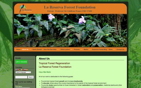 Screenshot of About Page lrff.org - About Us - La Reserva Forest Foundation - captured Oct. 1, 2014