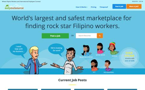 Screenshot of Home Page easyoutsource.com - Hire the best Filipino employees and virtual assistants the Philippines has to offer! - captured April 22, 2017