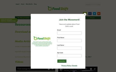 Screenshot of Press Page foodshift.net - Media Resources - Food Shift - captured Nov. 8, 2017