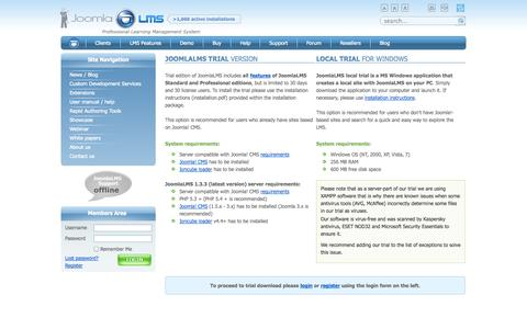 Screenshot of Trial Page joomlalms.com - Free Trial | JoomlaLMS Learning Management System - captured Sept. 23, 2014