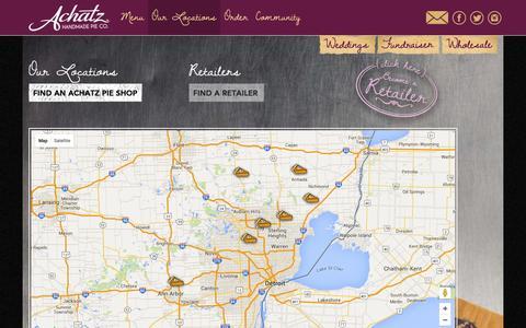 Screenshot of Locations Page achatzpies.com - Locations   Achatz Handmade Pie Co. - captured Feb. 5, 2016