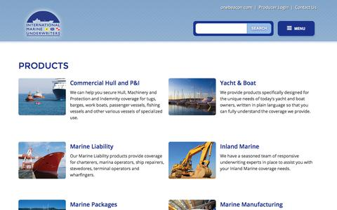 Screenshot of Products Page imu.com - Products and Coverages | International Marine Underwriters - captured Feb. 8, 2018