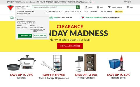 Screenshot of Services Page canadiantire.ca - Shop Canada's Top Department Store Online & at 500+ Locations | Canadian Tire - captured Aug. 26, 2019