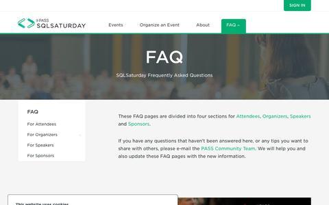 Screenshot of FAQ Page sqlsaturday.com - SQLSaturday > FAQ - captured Sept. 29, 2018