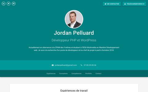 Screenshot of Home Page jordanpelluard.fr - Jordan Pelluard - CV/Portfolio - captured Oct. 19, 2018