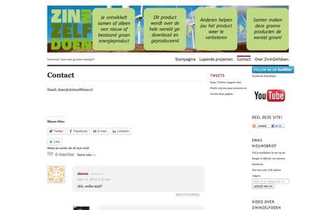 Screenshot of Contact Page wordpress.com - Contact   ZininZelfdoen! - captured Oct. 27, 2014
