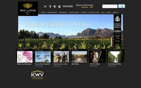 Screenshot of Home Page valdevie.co.za - Home page - captured Oct. 6, 2014