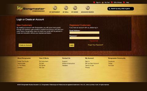 Screenshot of Support Page songmaster.com - Songmaster Customer Login - captured Oct. 6, 2014