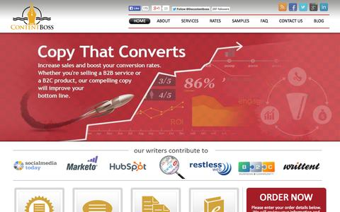 Screenshot of Home Page thecontentboss.com - SEO Content Creation & Development Services - The Content Boss - captured Oct. 1, 2014
