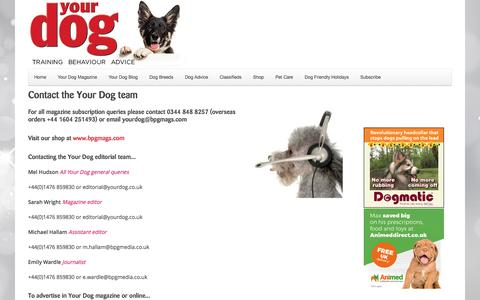 Screenshot of Contact Page yourdog.co.uk - Your Dog   Contact the Your Dog team - captured Dec. 2, 2016