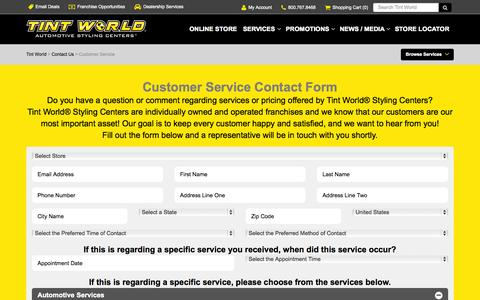 Screenshot of Support Page tintworld.com - Customer Service - Tint World - captured Nov. 17, 2015