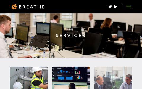 Screenshot of Services Page breatheenergy.com - Services | Breathe Energy - captured Nov. 6, 2018