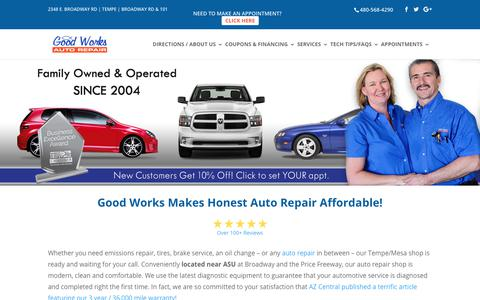 Screenshot of Home Page goodworksautorepair.com - Home of Honest Auto Repair in Tempe - captured Aug. 27, 2017