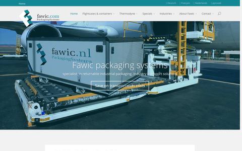 Screenshot of Home Page fawic.com - Manufacturer of secure, modular transport boxes & packaging - captured Sept. 8, 2015
