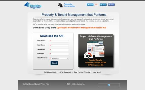 Screenshot of Landing Page buildingengines.com - Property and Tenant Management that Performs - captured Aug. 13, 2016