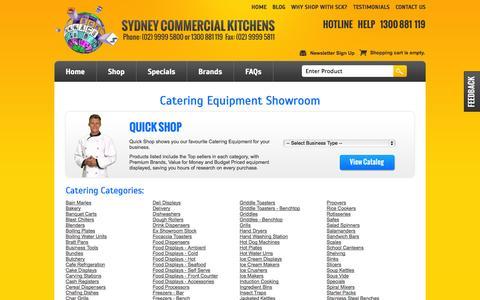 Screenshot of Products Page sydneycommercialkitchens.com.au - Showroom - captured Sept. 22, 2014