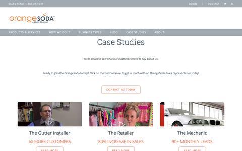 Screenshot of Case Studies Page orangesoda.com - Case Studies | OrangeSoda - captured July 20, 2019