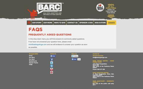 Screenshot of FAQ Page balidogrefuge.com - FAQs - - captured Oct. 9, 2014