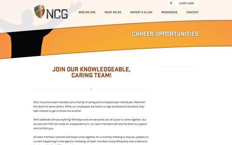 Screenshot of Jobs Page ncginsurance.com - Career Opportunities | NCG Insurance - captured June 16, 2017