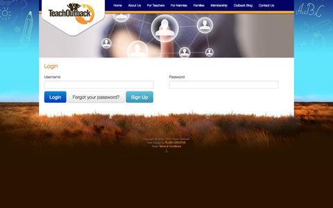 Screenshot of Login Page teachoutback.com.au - Login / User - Teach Outback - captured Oct. 7, 2014