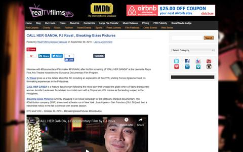 Screenshot of Blog realtvfilms.com - Filmmaker Interviews , Actor Interviews , Social Lodge - captured Oct. 19, 2018