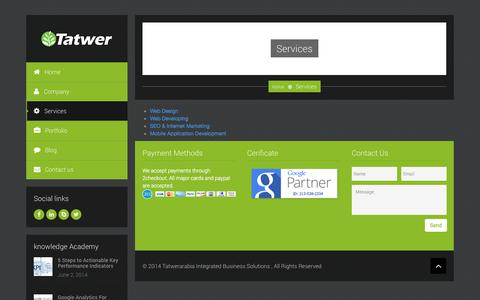 Screenshot of Services Page tatwerarabia.com - Tatwer Arabia GroupServices - Tatwer Arabia Group - captured Oct. 6, 2014
