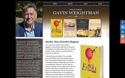 Screenshot of Home Page gavin-weightman.co.uk - Gavin Weightman Official Website | Gavin Weightman Biography | Children of Light | Frozen Water Trade | Industrial Revolutionaries - captured May 23, 2016
