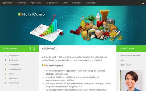 Screenshot of Home Page nutricomp.hu - Nutricomp – … Üdvözüljük a NutriComp honlapján … - captured Nov. 13, 2017