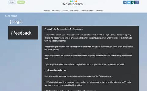 Screenshot of Terms Page taylorhopkinson.com - Legal - captured Nov. 3, 2014
