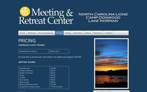 Screenshot of Pricing Page meetingcentercampdogwood.org - Pricing | Camp Dogwood Meeting & Retreat Center - captured Jan. 25, 2016