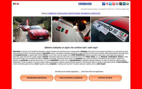 Screenshot of Home Page ilovemaranello.com - I LOVE MARANELLO® - Ferrari,Lamborghini,Pagani,Maserati,Ducati tour - captured May 25, 2017