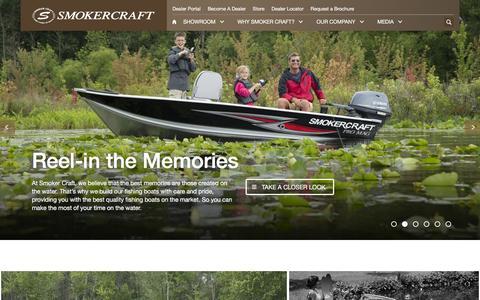 Screenshot of Home Page smokercraft.com - Smoker Craft Fishing Boats | 50 years of Quality & Innovation - captured Nov. 22, 2015