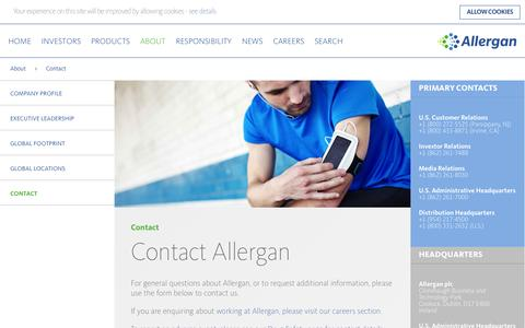 Screenshot of Contact Page allergan.com - Contact Allergan - Allergan - captured Oct. 3, 2015