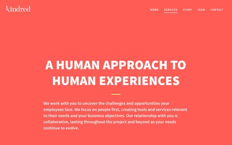 Screenshot of Services Page withkindred.com - Services   Kindred - captured Dec. 2, 2016