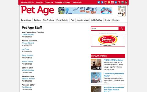 Screenshot of About Page petage.com - Pet Age Staff | Pet Age - captured Sept. 19, 2014