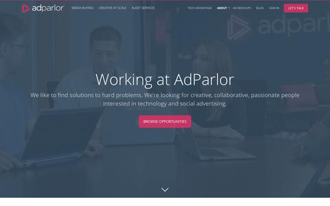Screenshot of Jobs Page adparlor.com - Careers | AdParlor - captured May 7, 2018