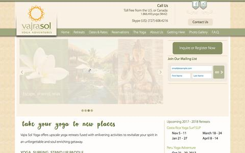 Screenshot of Home Page vajrasoltravel.com - Vajra Sol Yoga Retreats   Costa Rica Surfing & SUP   Peru - captured Oct. 18, 2017