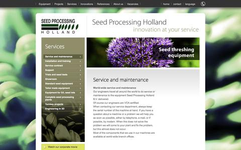Screenshot of Services Page seedprocessing.nl - Seed Processing - Service and maintenance - captured Feb. 4, 2016