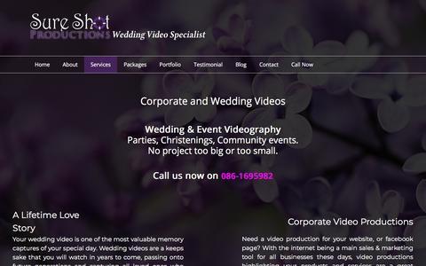 Screenshot of Services Page sureshotproductions.ie - Services | Sure Shot Wedding Video Production - captured Nov. 10, 2017