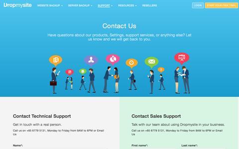Screenshot of Contact Page dropmysite.com - Dropmysite   Contact Us - captured July 3, 2016