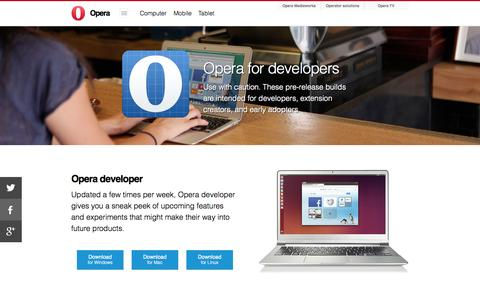 Screenshot of Developers Page opera.com - Developer - Opera Software - captured Sept. 17, 2014