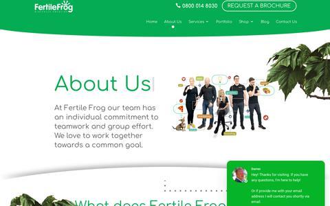 Screenshot of About Page fertilefrog.com - Darren says... - captured Aug. 14, 2019