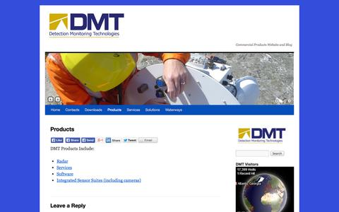 Screenshot of Products Page dmtradar.com - Products | DMT Radar & Security Systems - captured Oct. 5, 2014