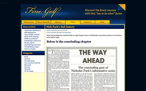 Screenshot of Press Page finegolf.co.uk - Fine Golf, a passionate campaign for golf's classic values - captured Sept. 30, 2014