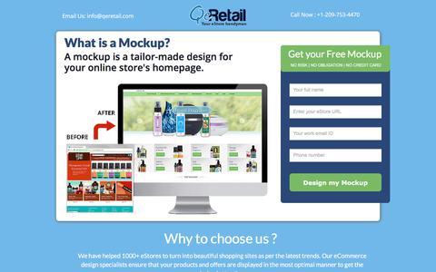 Screenshot of Landing Page qeretail.com - Give your online store a design facelift. GET FREE MOCKUP - captured April 1, 2018